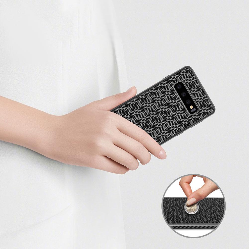 Etui Nillkin Synthetic Fiber dla Samsung Galaxy S10 Plus - Geometryczne wzory - stylowe oraz ponadczasowe