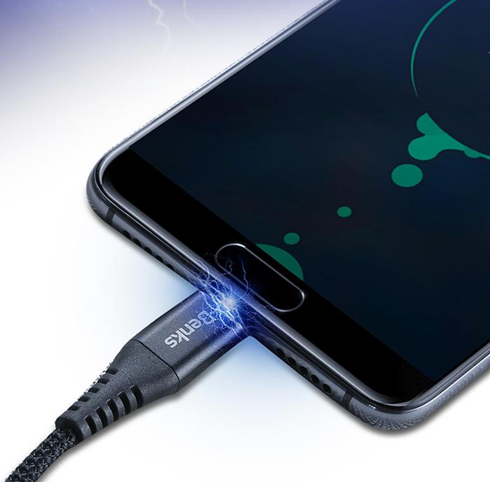 Kabel BENKS Chidian USB Typ C3.0A dla smartfonów, tabletów oraz akcesoriów GSM - Specyfikacja: BENKS Chidian kabel USB Typ C oplot Quick Charge